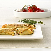 Baked crêpes with vegetable filling