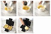 Making waffle batter and baking waffles