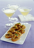 Crostini with chicken liver puree and onions
