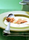 Asparagus soup with salmon parcels