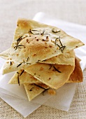 Crispy flatbread with garlic and rosemary