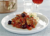 Pollo alla cacciatora (Chicken with tomato sauce and olives)