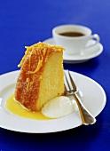 Sponge cake soaked in orange syrup