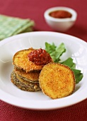 Breaded aubergine slices with tomato dip