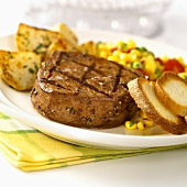 Barbecued beef fillet with accompaniments