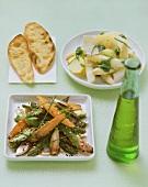 Asparagus & potato salad with pesto & asparagus & carrot salad