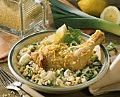 Chicken leg in lemon rice
