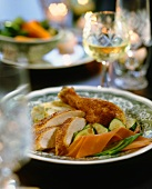 Stuffed capon with vegetables