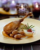 Roast leg of goose with sweet chestnuts and pear