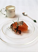 Raw salmon with sesame and  crème fraiche with wasabi