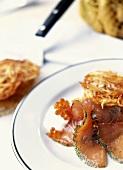 Marinated salmon with rosti and keta caviare