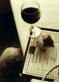 Menu with red wine glass