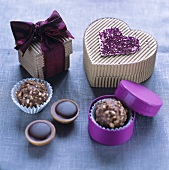 Chocolates with chocolate boxes