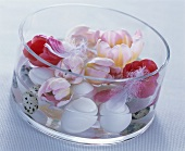 Glass bowl with hen's and quail's eggs and tulips