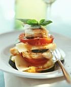 Monkfish and pasta tower