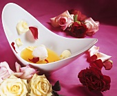 Champagne soup with ice cream and rose petals