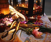 Turmeric flower, cinnamon sticks and orchids