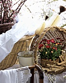 Basket of clothes pegs, bottle brushes behind