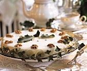 Iced walnut cake