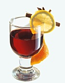 A glass of red wine punch