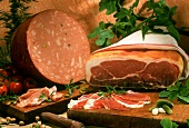 Still life with raw ham and mortadella