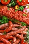 Chipolata and Merguez sausages; mince