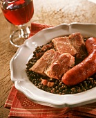 Lentils with pork sausage and salted meat