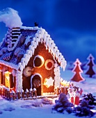 Gingerbread house, lit from inside
