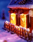 Side of a gingerbread house (close-up)