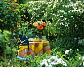 Fruit bowl, flowers & book on table in flower-filled garden