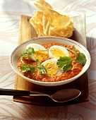 Egg curry (eggs in spicy curried tomato sauce)