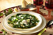 Spinach and asparagus soup with buffalo mozzarella and Parmesan