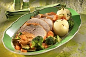 Smoked pork loin with vegetables and dumplings