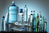 Various mineral water bottles (with soft-focus lens)