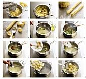 Making gnocchi al gorgonzola (Italy)