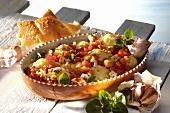 Cauliflower and tomato bake in a baking dish