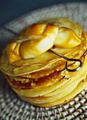 Smoked mozzarella on crespelle (thin pancakes)