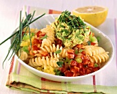 Fusilli with peppers and avocado cream