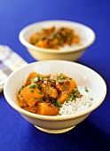 Chicken and pumpkin curry with rice in bowls