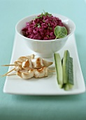 Spicy beetroot salad, chicken kebabs and courgette sticks