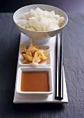 Soya dip, sweet and sour ginger and sushi rice