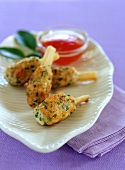 Shrimp snacks (fried minced shrimps on sugar cane stick)