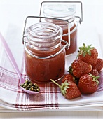 Strawberry jam with green pepper