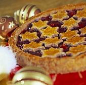 Christmassy Linzer tart