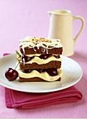 Cherry and chocolate cake, tiramisu style