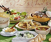 Buffet of assorted Mediterranean dishes