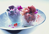 Redcurrant and blueberry sorbets in glasses