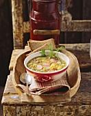 Katentopf (vegetable soup with smoked ham & Vienna sausages)