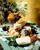 Still life with various types of French cheese