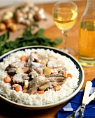 Blanquette de veau (veal ragout in white sauce & rice, France)